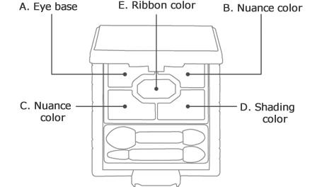 A. Eye base B. Nuance color C. Nuance color D. Shading color E. Ribbon color
